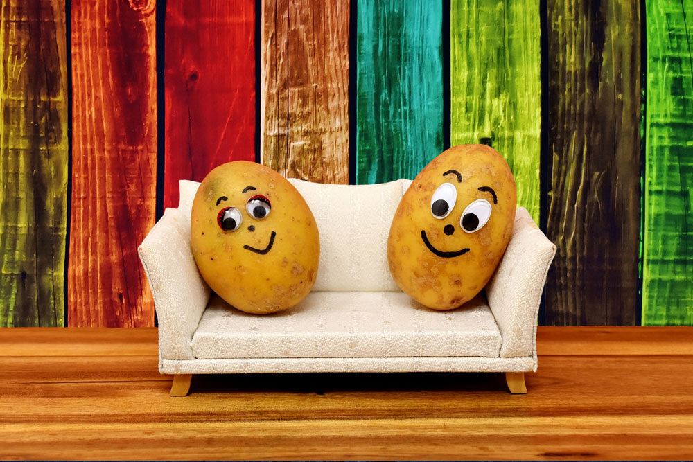 potatoes on a couch